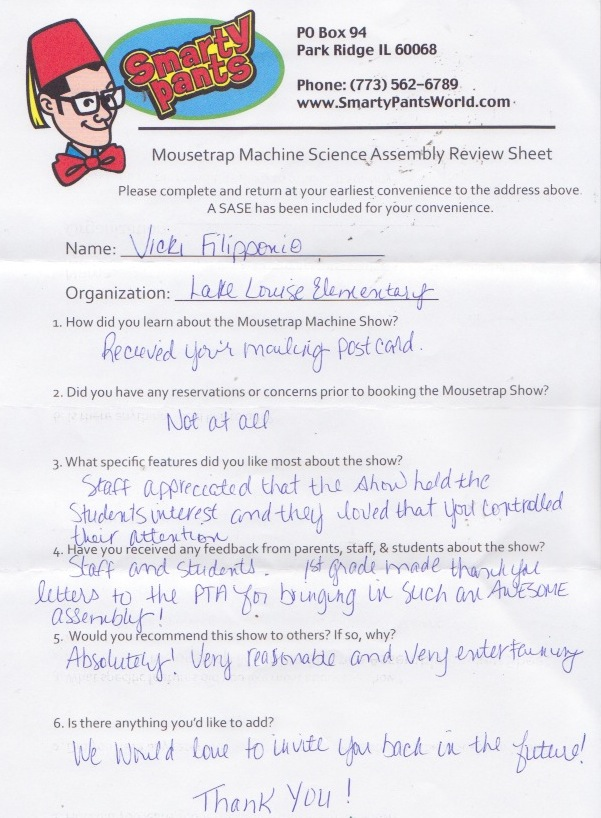 Mousetrap Machine Science Assembly School Feedback